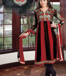 Buy Hypnotex Maroon And Black Faux Georgette Dress Materials dress-material online