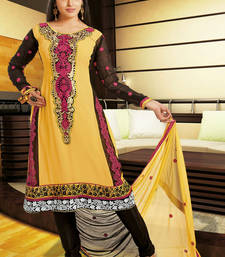 Buy Hypnotex Yellow Faux Georgette Dress Materials dress-material online