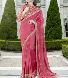 Buy Dark pink embroidered art silk saree with blouse one-minute-saree online