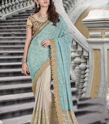 Buy Sky blue embroidered chiffon saree with blouse one-minute-saree online