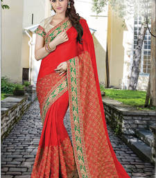 Buy Red embroidered art silk saree with blouse one-minute-saree online