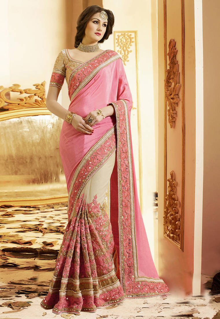 Pink Saree: Buy Light Pink Embroidered Chiffon Saree With Blouse Online