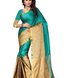 Buy Green plain cotton silk saree with blouse below-400 online