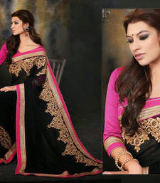Buy Designer saree Georgette black with pink border and pink blouse.2132. georgette-saree online