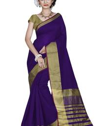 Buy Purple printed cotton silk saree with blouse cotton-saree online