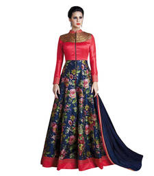 Buy Red and blue embroidered banglori silk and net semi stitched salwar with dupatta semi-stitched-salwar-suit online