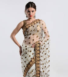 Buy White net with sequins work saree  kareena-kapoor-saree online