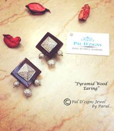 Buy Pyramid Wood Earing danglers-drop online