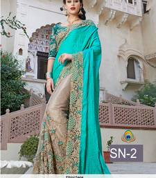 Buy Turquoise embroidered art silk saree with blouse wedding-saree online