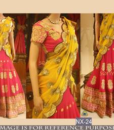 Buy Multicolor embroidered georgette unstitched lehenga punjabi-lehenga online