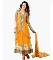 Buy Orange Net embroidered semi stiched long salwar with dupatta floor Anarkali Suit semi-stitched-salwar-suit online