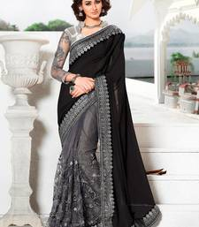 Buy Black embroidered silk georgette and net saree with blouse wedding-saree online