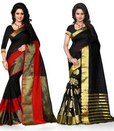 Buy Multicolor plain cotton silk saree with blouse south-indian-saree online