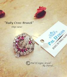 Buy Ruby Cross Brooch brooch online