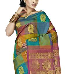 Buy Sudarshan silks Pure Silk  Kanjeevaram Hand woven Saree-Multicolor-Silk-DHLS11 silk-saree online