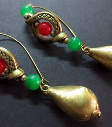 Buy Red_Green_Brass_Drop_Inline_Earrings danglers-drop online