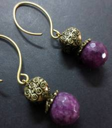 Buy Purple_Agate_Capped_Antique_Earrings danglers-drop online