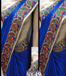 Buy Blue embroidered georgette saree with blouse madhuri-dixit-saree online