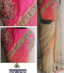 Buy Light cream embroidered net saree with blouse south-indian-saree online