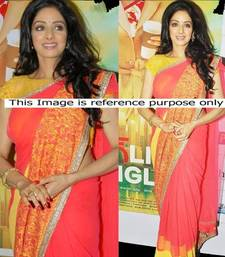 Buy Sridevi in Orange And Yellow Sari At English Vinglish Promotions sridevi-saree online