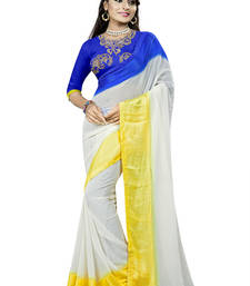 Buy White embroidered georgette saree with blouse heavy-work-saree online