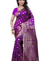 Buy Purple woven banarasi silk saree with blouse banarasi-saree online