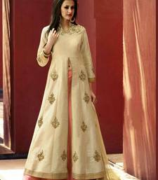 Buy off white  and banglori silk with embroidey work unstitched lehenga eid-lehenga online