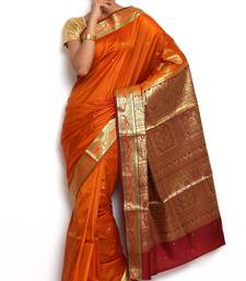 Buy Sudarshan silks Dupion Silk Saree-Orange-art-silk-sarees-POSB1-VP art-silk-saree online