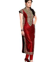 Buy Red banglori silk embroidered semistitched salwar with dupatta collar-neck-design online