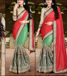 Buy Red embroidered georgette saree with blouse heavy-work-saree online