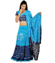 Buy Jaipuri Bandhej Pure Cotton Lehanga Choli Set 303 navratri-lehenga-chaniya-choli online