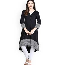 Buy Black printed cotton kurtas-and-kurtis long-kurti online