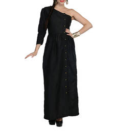 Buy Women's Designer Black One Shoulder Maxi With Gathers dress online