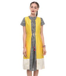 Buy Women's Designer Yellow Cotton Silk Wrap Dress With White Border dress online