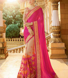 Buy Pink embroidered satin saree with blouse wedding-season-sale online