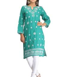 Blue embroidered cotton kurtas-and-kurtis shop online