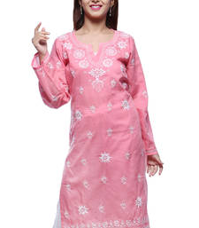 Buy Peach embroidered cotton kurtas-and-kurtis chikankari-kurti online