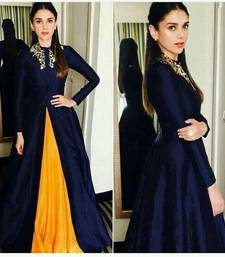 Buy Blue and yellow silk embroidered bollywood style free size palazzo party-wear-gown online