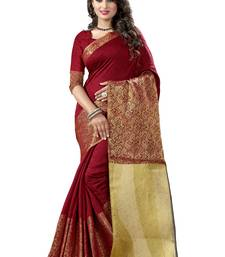 Buy Red woven jacquard saree with blouse ethnic-saree online