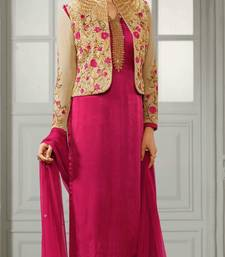 Buy Pink embroidered crepe semi stitched salwar with dupatta semi-stitched-salwar-suit online