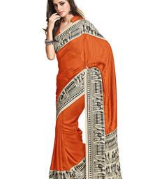 Buy Fabdeal Orange Colored Jute Silk Printed Saree jute-saree online