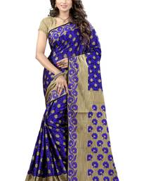 Buy Blue woven jacquard saree with blouse ethnic-saree online