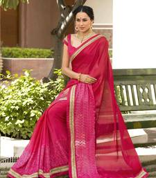 Buy Pink embroidered georgette saree with blouse bengali-saree online