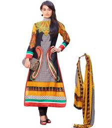 Buy AARYA Pure Lawn Cotton Black and Yellow Color Designer Dress Material Diwali offers dress-material online
