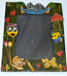 Buy HANDMADE PHOTO FRAME IN RACTANGLE SHAPE WITH CARTOON CHARACTER  MADE OF WOOD AND PAPERMASHY WORK other-home-furnishing online