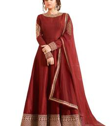 Buy Red embroidered art silk semi stitched salwar with dupatta ethnic-suit online