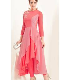 Buy Pink embroidered georgette short-kurtis party-wear-kurti online