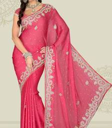 Buy Weeding Carrot Pink Color Satin Chiffon Party Wear Saree with Blouse chiffon-saree online