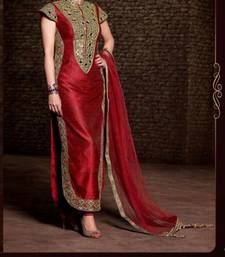 Buy Red georgette embroidered semi stitched salwar with dupatta pakistani-salwar-kameez online