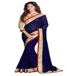 Buy Blue Color embroidered georgette saree with blouse party-wear-saree online